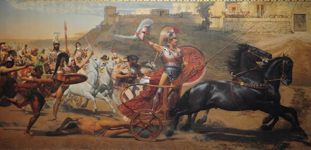 Aquiles arrastrando el cadáver de Héctor por las puertas de Troya, Franz von Matsch
