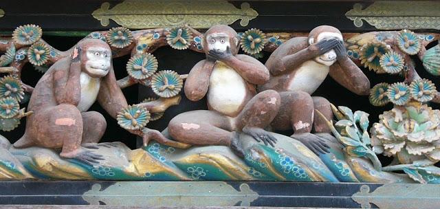 Los tres monos sabios de Japón