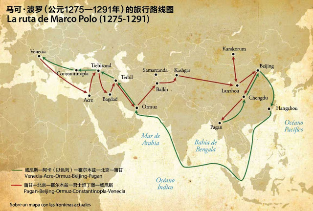 Mapa con los viajes de Marco Polo